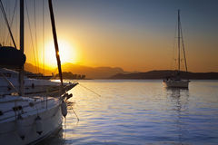 Three ships in Poros harbor, Greece Stock Photography
