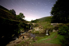 Three shires head waterfall at night Royalty Free Stock Photo