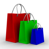 Three shoping bags on white Stock Photos