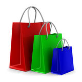 Three shoping bags on white. Isolated 3D Stock Photo