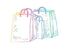 Three shopping bags. Sketch illustration - three shopping bags royalty free illustration