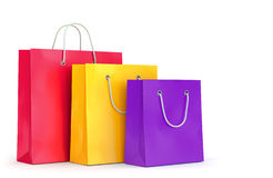 Three shopping bags on white background Stock Images