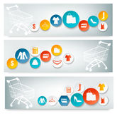 Three Shopping banners with colorful icons. Royalty Free Stock Image