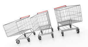 Three shopping carts. 3D rendered image Stock Image