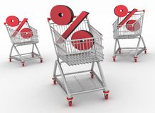 Three shopping carts with percent sign Stock Photography