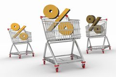 Three shopping carts with percent sign Royalty Free Stock Photography