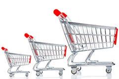 Three shopping carts Stock Image