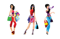 Three shopping girl Stock Images