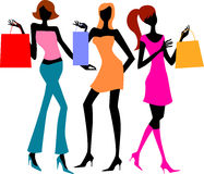 Three shopping girls Royalty Free Stock Photo