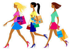 Three shopping girls in flat style Stock Images