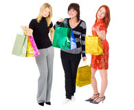 Three shopping ladies Royalty Free Stock Photos