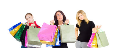 Three shopping women   group portrait Stock Photography
