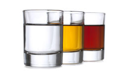 Three shot glasses Royalty Free Stock Image