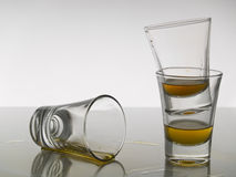 Three shots of whisky Stock Photos