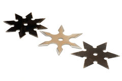 Three shurikens. The shuriken is a weapon, used by japanese fighter (ninja Royalty Free Stock Photography
