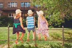 Three sibling in the public park Stock Photography