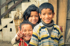 Three siblings in Arunachal Pradesh Stock Photography