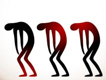 Three sick people go hard with their arms and head down, with bent knees and back. The concept of disease and problems. The red color in the black silhouette Stock Images