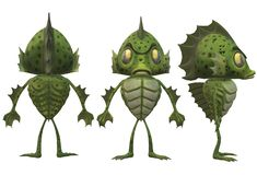 Three sides of a green amphibian monster stock photography