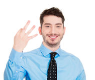 Three sign man Stock Image