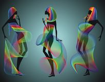 Three Silhouette Girls Stock Images
