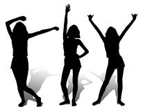 Three silhouette happy girl, vector. Illustration Royalty Free Stock Photography
