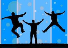 Three silhouette jumping Stock Photos