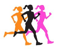 Three silhouette of running women profile black, orange and pink. Vector eps10 illustration Royalty Free Stock Photography