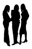 Three silhouettes. Three business woman's taken over white Royalty Free Stock Photo