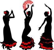 Three silhouettes of flamenco dancer with fan. Three silhouettes of flamenco dancer with red fan Stock Photo