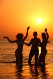 Three silhouettes in sea on sunset Stock Image