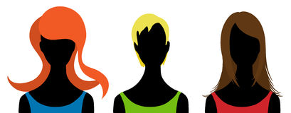 Three  silhouettes of woman Royalty Free Stock Photo