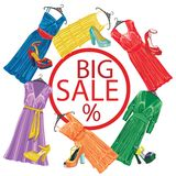 Three silk dresses and open shoes.Fashion sale Royalty Free Stock Image