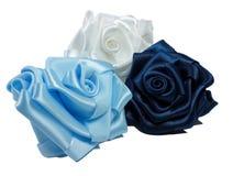Three silk roses Royalty Free Stock Photos
