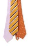 Three silk ties. On white background royalty free stock photos