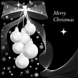 Three  silver  christmas balls 2. Silver  christmas balls on  black background Royalty Free Stock Photo