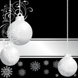 Three  silver  christmas balls 4. Three  silver  christmas balls on  black background 4 Royalty Free Stock Photo