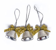 Three silver christmas bells Stock Image