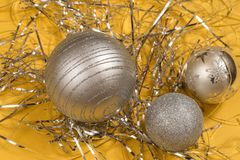 Three silver Christmas ornament balls Royalty Free Stock Photography