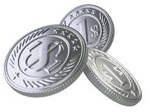 Three silver coins thrown into the air. Stock Photography