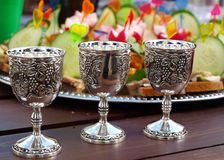 Three silver cups. Of wine and Snack Plate Stock Photos
