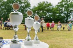 Three silver cups. On a table with a sports field in the background Stock Photos