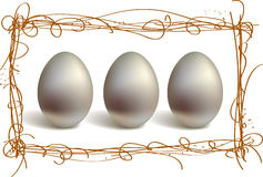 Three silver eggs Royalty Free Stock Photos