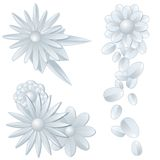 Three silver flower ornaments Stock Photos