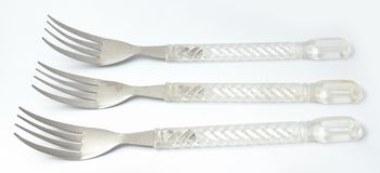 Three Silver Forks with plastic handle Royalty Free Stock Photo