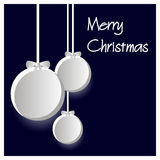 Three silver paper christmas decoration baubles hanging black background eps10. Three silver paper christmas decoration baubles hanging black background Royalty Free Stock Images