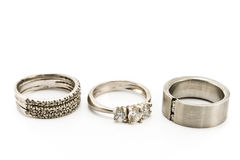 Three silver rings Royalty Free Stock Photography