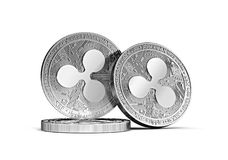 Three silver Ripple coins XRP concept stacked together isolated on white vector illustration