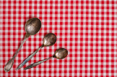 Three silver spoons Royalty Free Stock Images