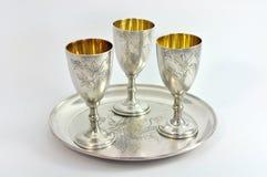 Three silverware. On silver dish over white background Stock Photo